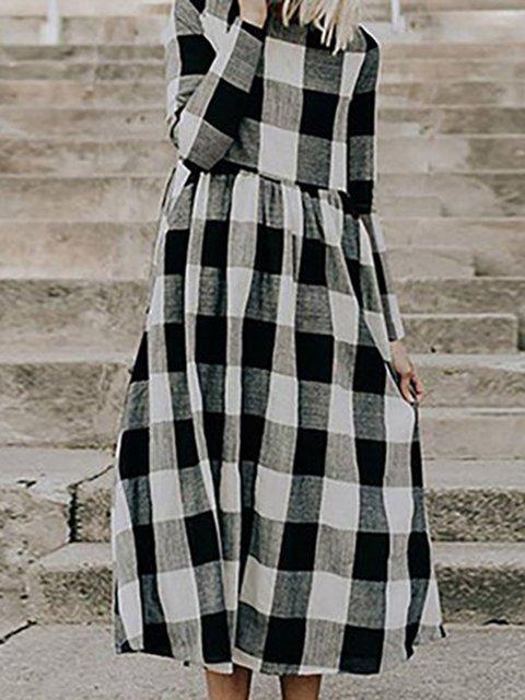 Black Swing Women Long Sleeve  Gingham Spring Dress