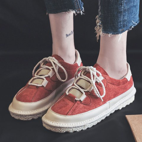 Women Casual Suede Lace-up Sneakers