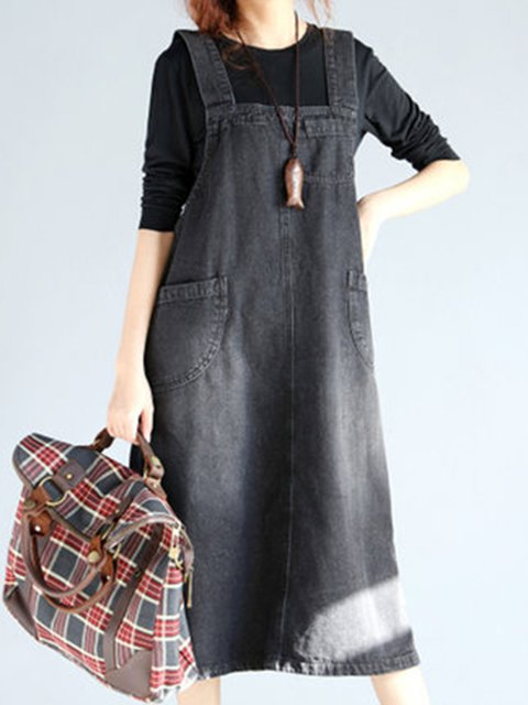 Spaghetti Black Women Spaghetti Casual Denim Pockets Solid Casual Dress