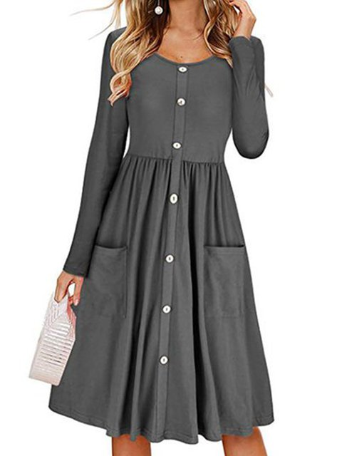 Swing Women Daily Long Sleeve Statement Cotton-blend Paneled Elegant Dress