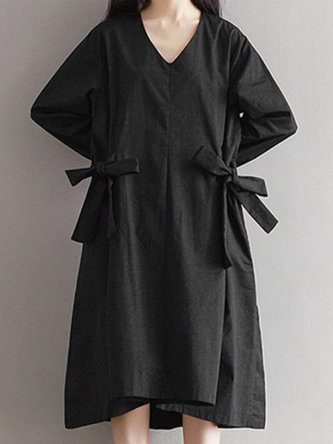 Women Daily Long Sleeve Cotton Bow Solid Casual Dress