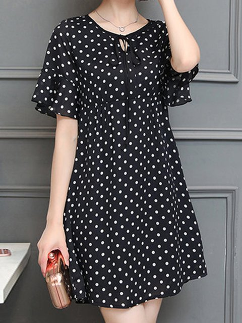 Black A-line Women Daily Casual Bell Sleeve  Polka Dots Casual Dress