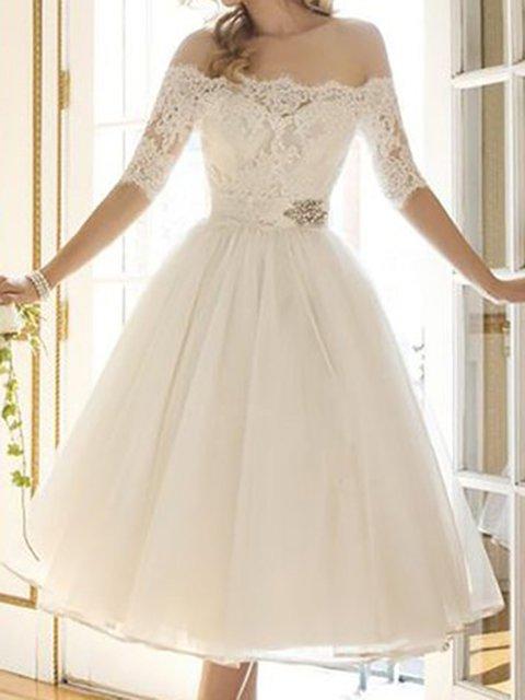 Off Shoulder White Swing Women Cocktail Half Sleeve  Prom Dress