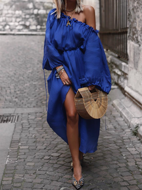 Off Shoulder Blue Swing Women Holiday Long Sleeve Spring Dress