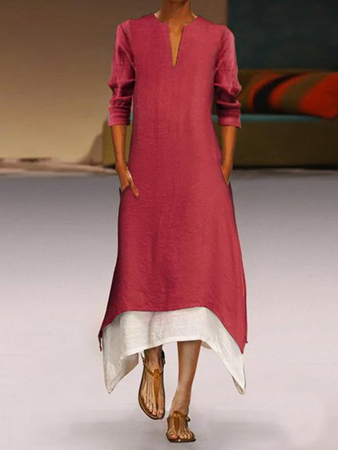 A-line Women Elegant Long Sleeve Paneled Solid Spring Dress