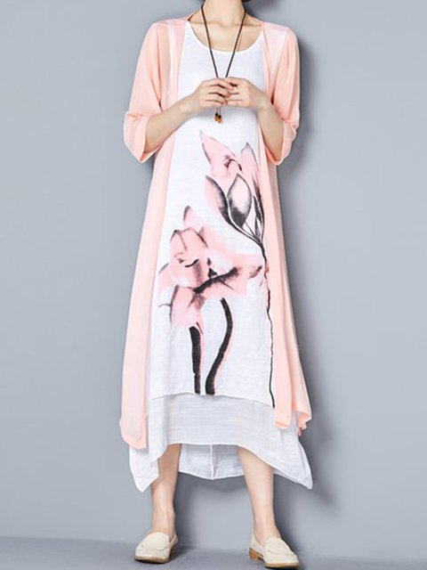 Women 3/4 Sleeve Linen Casual Painted Floral Casual Dress