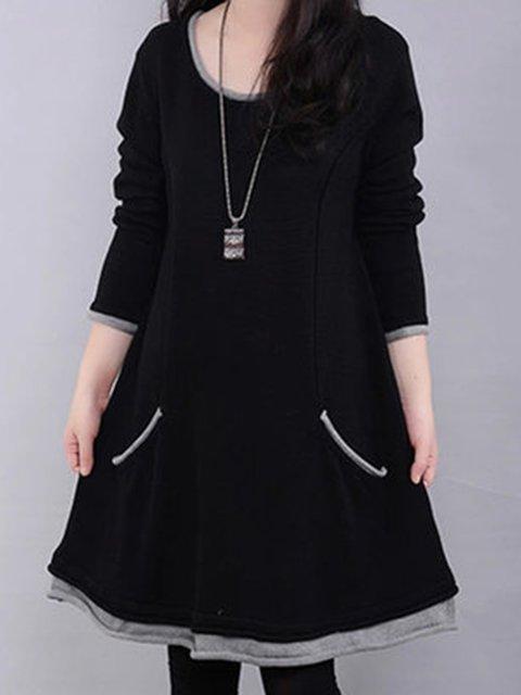 Shift Women Daytime Long Sleeve Cotton Paneled Plain Casual Dress