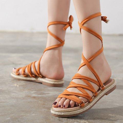 Women Summer Daily Lace Up Flat Heel Peep Toe Sandals