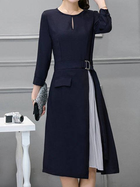 Navy Blue A-line Women 3/4 Sleeve Elegant Paneled  Elegant Dress
