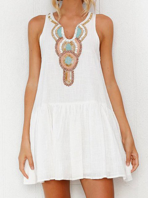 White Flounce Women Daytime Sleeveless Embroidered Summer Dress