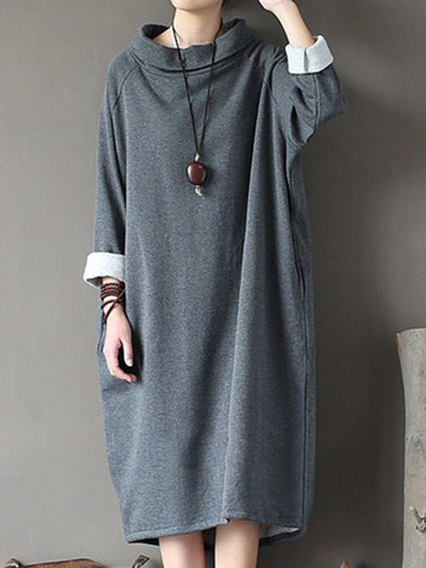 Stand Collar  Cocoon Women Daily Cotton Casual Solid Casual Dress
