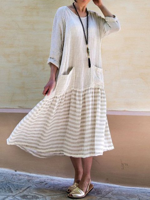 Crew Neck Women Fall Dresses Daily Casual Cotton Dresses