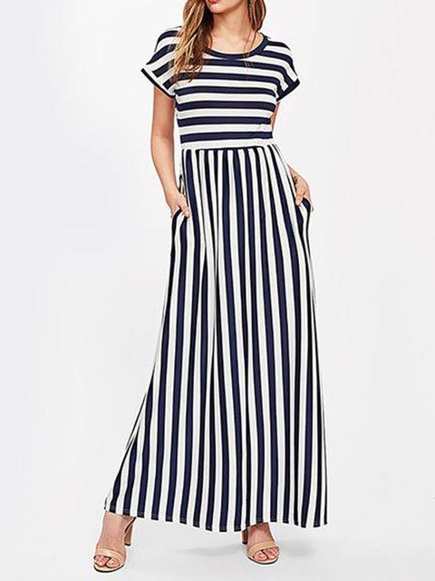 A-line Women Beach Holiday Short Sleeve Cotton Striped Summer Dress