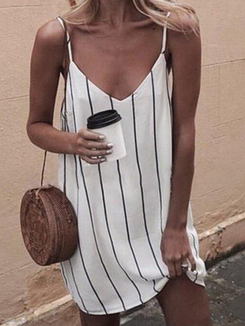 V neck White Shift Women Daily Spaghetti Casual Printed Striped Summer Dress