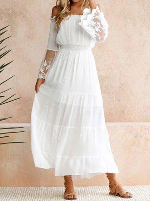 Off Shoulder White  Women Elegant Sleeveless Paneled Solid Summer Dress
