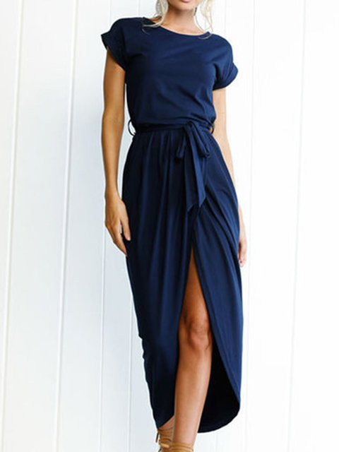 Dark blue Women Daytime Short Sleeve Chiffon Casual Asymmetric Solid Summer Dress