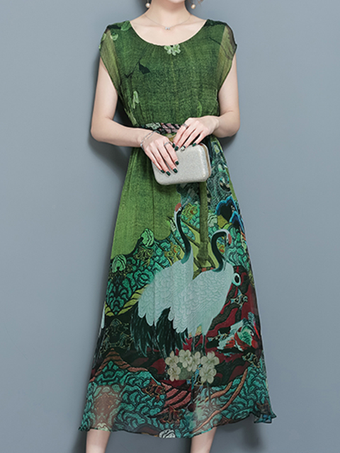 22a203d5ef Multicolor Women Daytime Silk-chiffon Vintage Short Sleeve Printed Tribal  Elegant Dress
