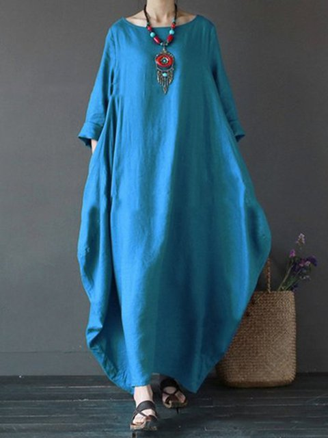7e6e486331b JustFashionNow Plus Size Women Casual Dress Crew Neck Cocoon Daytime ...