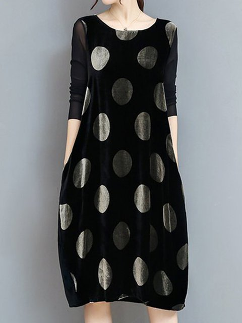 Black Sheath Women Daytime Long Sleeve Cotton-blend Sweet Paneled Polka Dots Elegant Dress