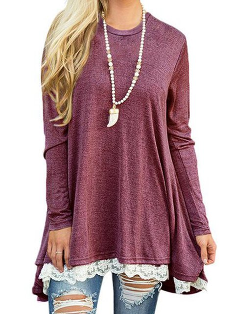 Women Daily Cotton-blend Casual Long Sleeve Paneled Spring Dress