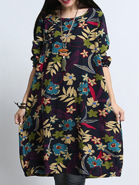 Shift Women Daily Long Sleeve Cotton Casual Pockets Floral Casual Dress