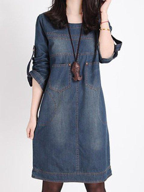Dark blue Shift Women Casual Denim Long Sleeve Buttoned Plain Casual Dress b4ac3562b