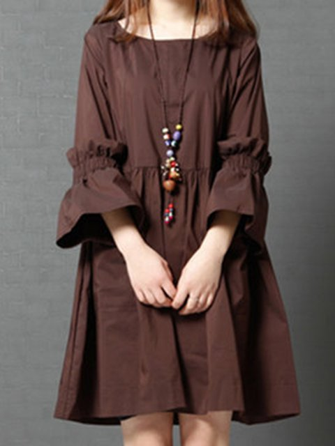 Women Daytime Frill Sleeve Casual Solid Casual Dress