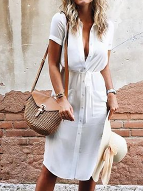 Shirt Collar White A-line Women Daily Short Sleeve Basic Buttoned Solid Summer Dress