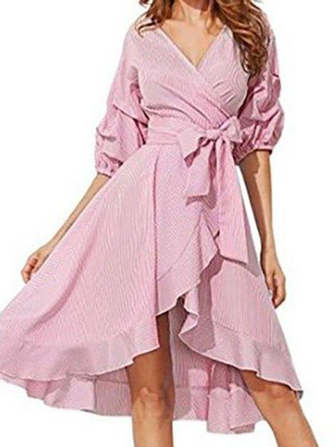 V Neck Women Spring Dresses Swing Daily Paneled Dresses