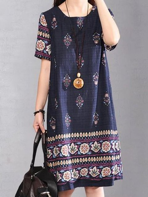 Dark blue A-line Women Daily Linen Casual Printed Tribal Casual Dress