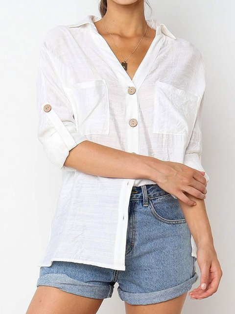 Casual Linen Buttoned V Neck Blouses