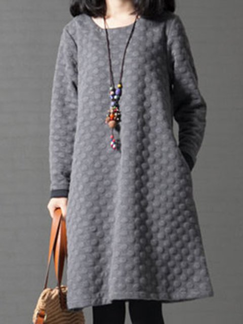Women Daytime Cotton Long Sleeve Embossed Plain Casual Dress