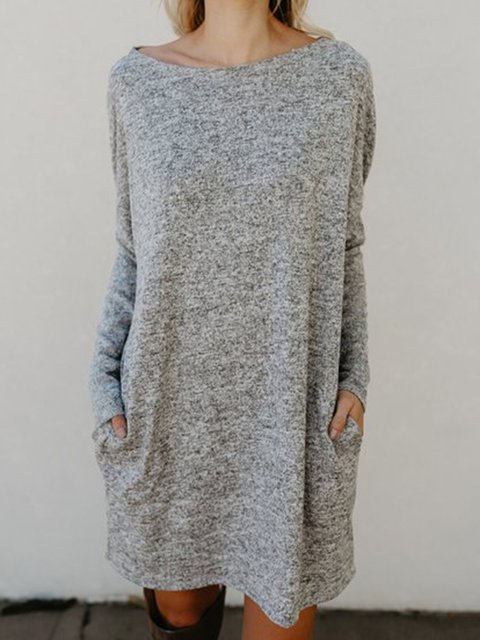 Bateau/boat neck  Women Long Sleeve Knitted Solid Spring Dress