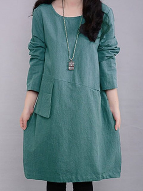 Shift Women Daily Long Sleeve Casual Cotton Pockets Solid Casual Dress