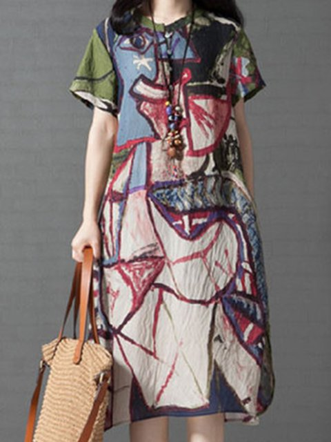 Multicolor A-line Women Daytime Short Sleeve Linen Casual  Abstract Casual Dress