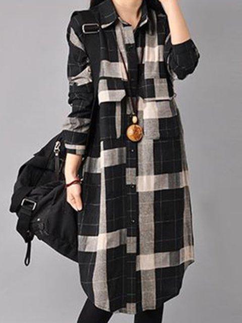Shirt Collar  Shift Women Daily Casual Long Sleeve Pockets Checkered/Plaid Casual Dress