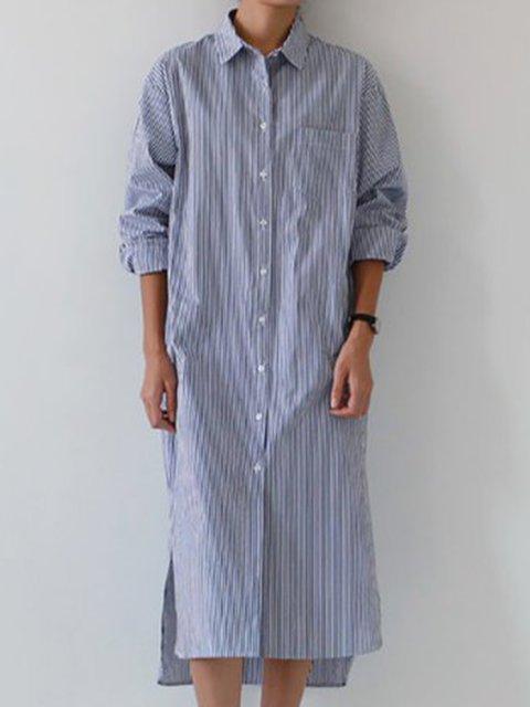 Shawl Collar Blue Shift Women Daily Long Sleeve Stripe Striped Casual Dress