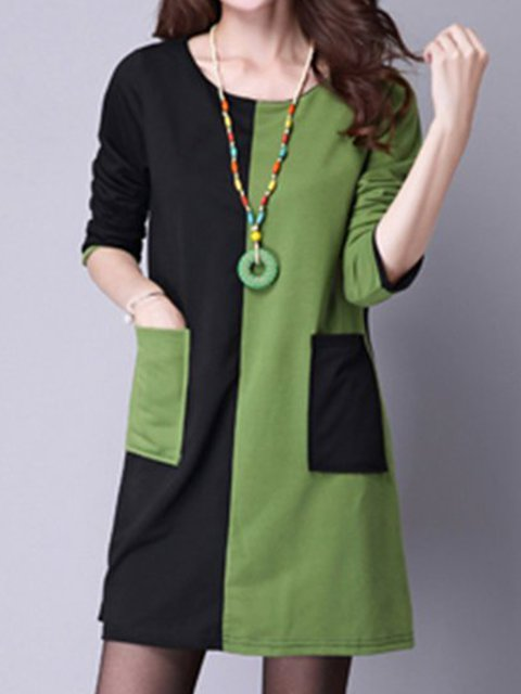 A-line Women Daytime Long Sleeve Casual Cotton  Casual Dress