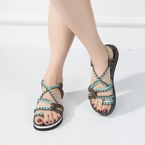 9495c9c1c Justfashionnow Women s Sandals Braided Flip-Flops Black-White Flat ...