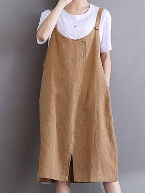 Spaghetti Khaki A-line Women Casual Cotton Slit Solid Casual Dress