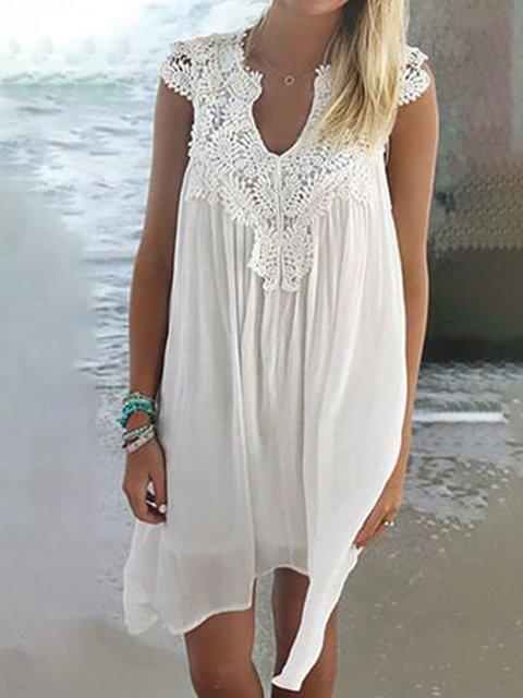 V neck  Shift Women Chiffon Sleeveless Plain Summer Dress