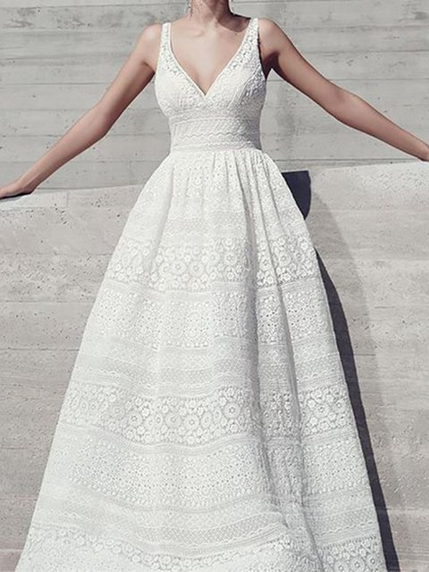 White  Women Prom Spaghetti Lace Guipure lace Plain Prom Dress