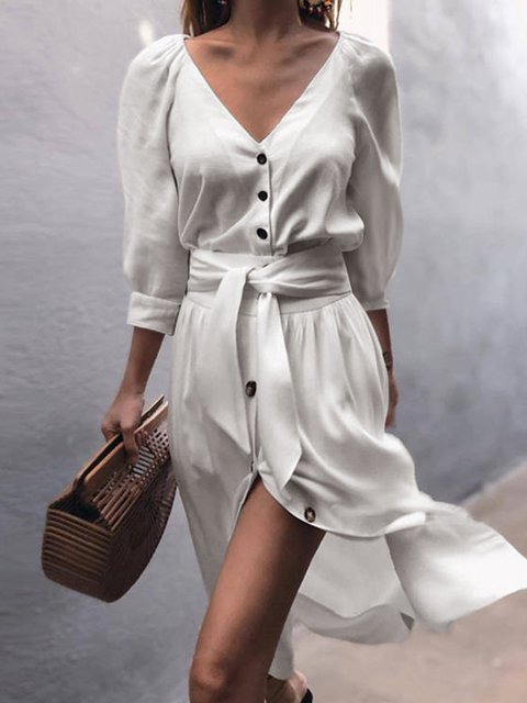 V-Neck Women Summer Dresses Swing Daily Slit Solid Dresses