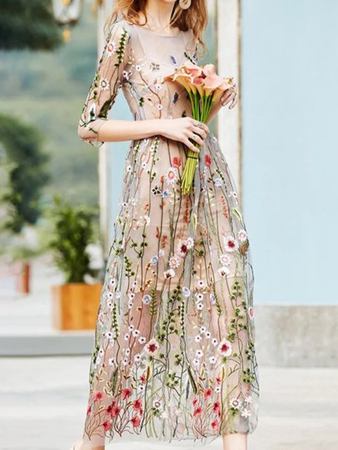 Apricot  Women Date 3/4 Sleeve Paneled Floral Prom Dress