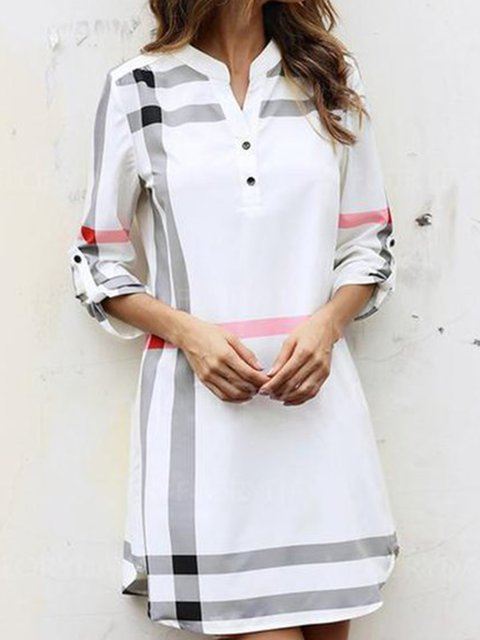 V neck  Sheath Women 3/4 Sleeve Checkered/Plaid Summer Dress