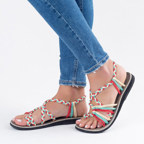 Women's Holiday Summer Casual Braided Beach Sandals
