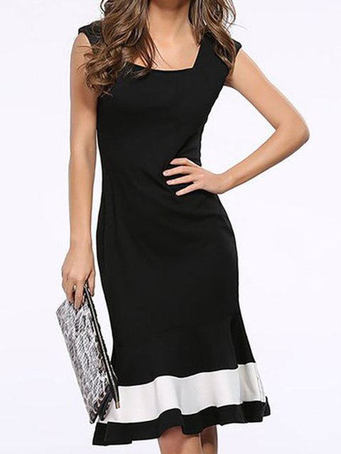 Square neck Black Bodycon Women Basic Sleeveless Paneled Prom Dress