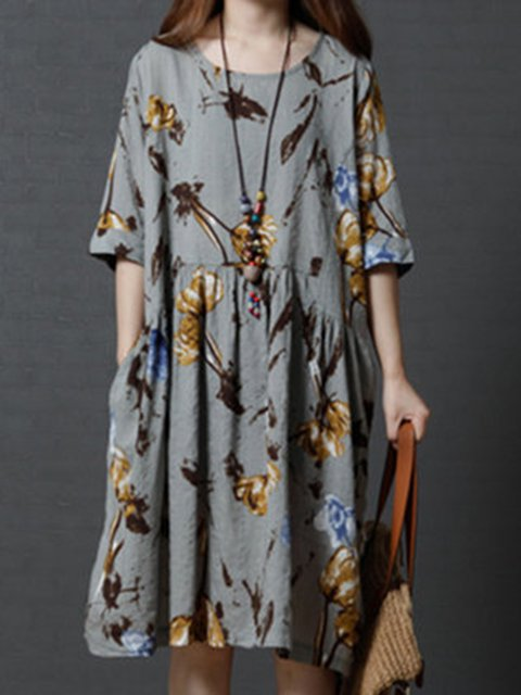Shift Women Daily Casual Linen Printed Casual Dress