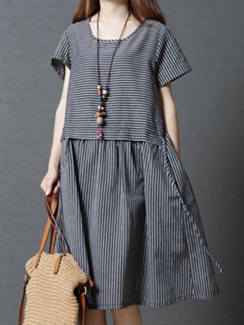 Black A-line Women Daytime Cotton Short Sleeve  Striped Casual Dress