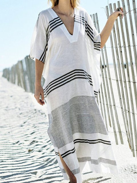 White Shift Women Beach Holiday Batwing Slit Striped Summer Dress